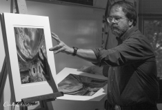 "John Sexton talks about his photography at the ""Edges and Intersections: 100 Years of Cultural Contribution in Yosemite"" symposium at Yosemite Natonal Park in 2002. (© 2002, Cindi Christie)"