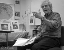 "Jerry Uelsmann discusses the darkroom techniques used to create the many layers in his images at the ""Edges and Intersections"" symposium at Yosemite National Park in 2002. The event marked the centennial of Ansel Adams' birth. (© Cindi Christie)"