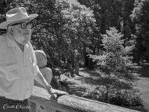 Ansel Adams talks about photography on the balcony of his suite at the Ahwahnee Hotel in Yosemite National Park on Friday, June 26, 1981. (©1981, Cindi Christie)