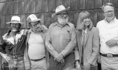 Ansel Adams, center, is flanked by Arthur Ollman, Arnold Newman, Marsha Burns and Jim Alinder