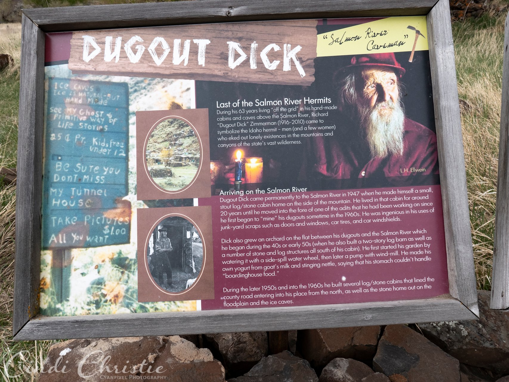 Dugout Dick's life is summarized with signs at the Bureau of Land Management site.